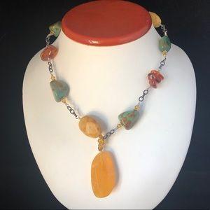 SILPADA Necklace Chunky w/ Yellow Jade Pendant